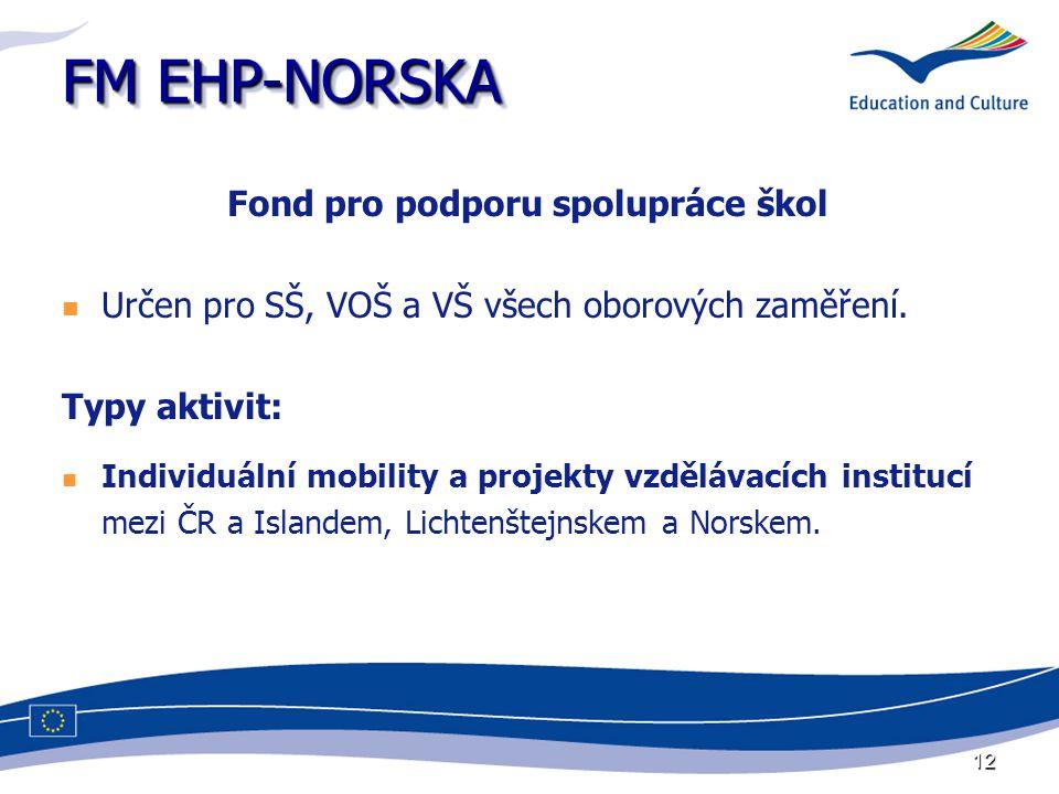12 FM EHP-NORSKA Fond pro podporu spolupráce škol Určen pro SŠ, VOŠ a VŠ všech oborových zaměření. Typy aktivit: Individuální mobility a projekty vzdě