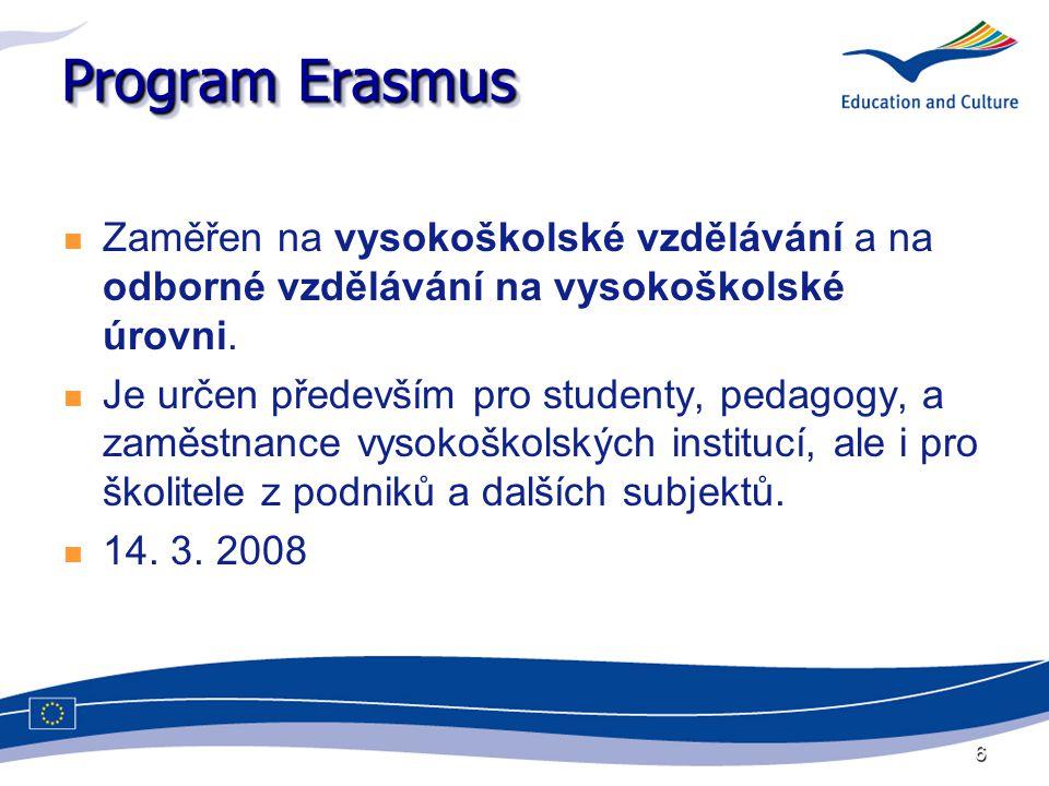 6 Program Erasmus Zaměřen na vysokoškolské vzdělávání a na odborné vzdělávání na vysokoškolské úrovni. Je určen především pro studenty, pedagogy, a za