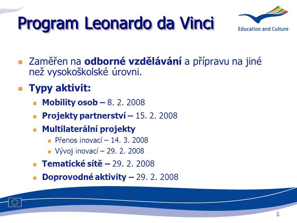 8 Program Leonardo da Vinci Zaměřen na odborné vzdělávání a přípravu na jiné než vysokoškolské úrovni. Typy aktivit: Mobility osob – 8. 2. 2008 Projek