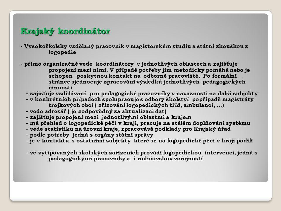 Krajský koordinátor - Vysokoškolsky vzdělaný pracovník v magisterském studiu a státní zkouškou z logopedie - přímo organizačně vede koordinátory v jed