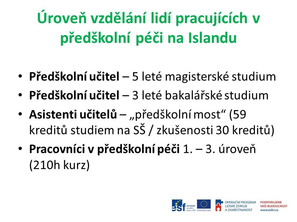 Úroveň vzdělání lidí pracujících v předškolní péči na Islandu Předškolní učitel – 5 leté magisterské studium Předškolní učitel – 3 leté bakalářské stu