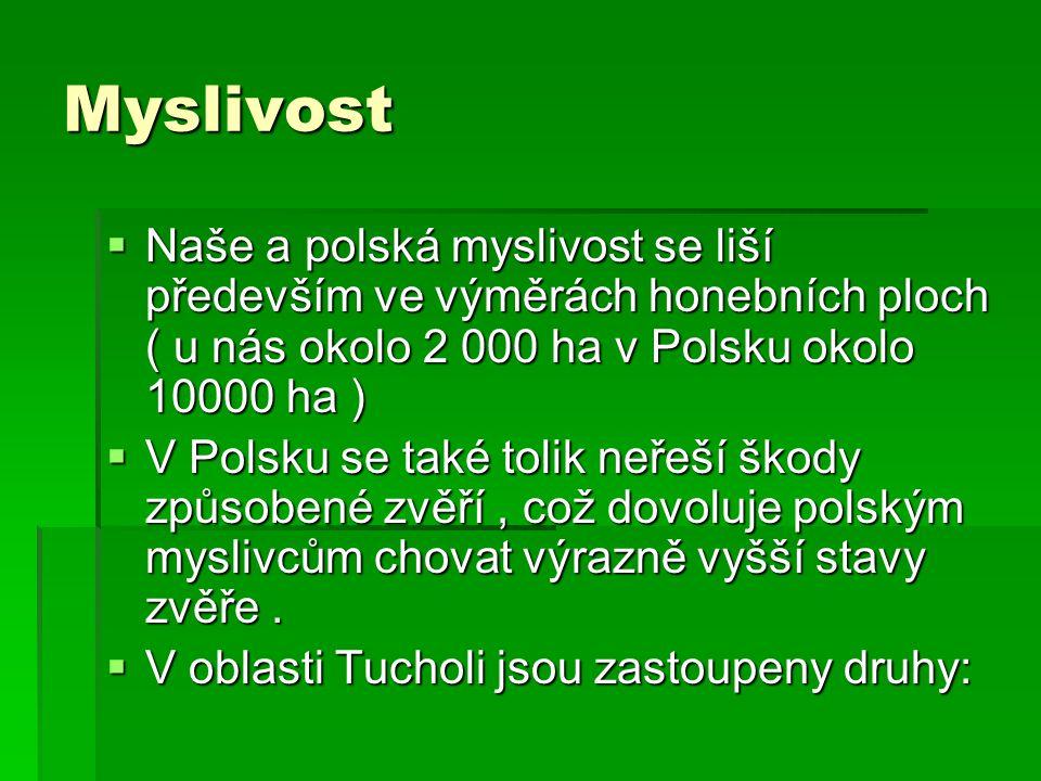 Myslivost  Naše a polská myslivost se liší především ve výměrách honebních ploch ( u nás okolo 2 000 ha v Polsku okolo 10000 ha )  V Polsku se také tolik neřeší škody způsobené zvěří, což dovoluje polským myslivcům chovat výrazně vyšší stavy zvěře.