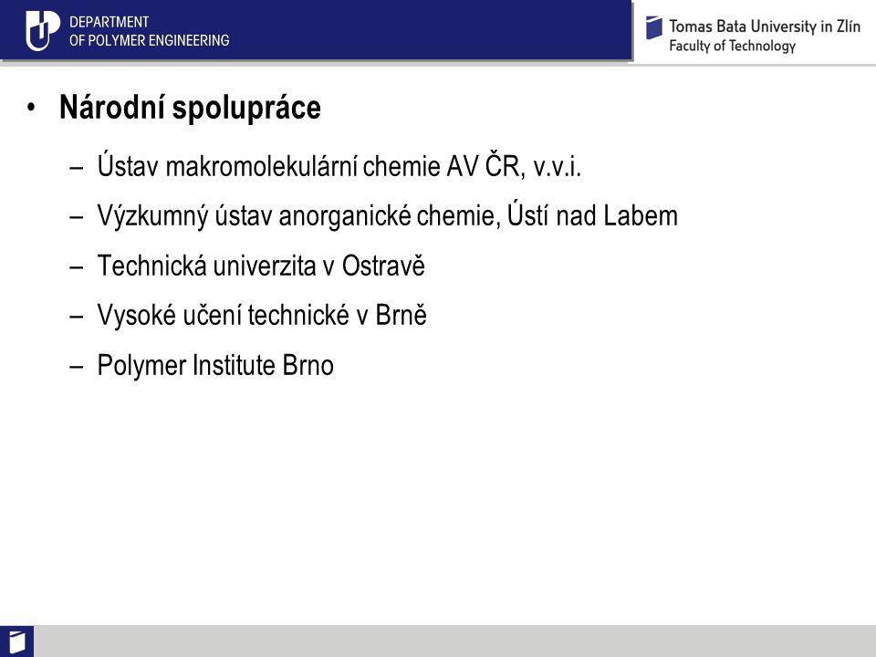 Národní spolupráce –Ústav makromolekulární chemie AV ČR, v.v.i.
