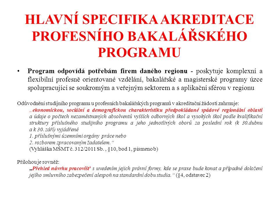 """HLAVNÍ SPECIFIKA AKREDITACE PROFESNÍHO BAKALÁŘSKÉHO PROGRAMU Program odpovídá potřebám firem daného regionu - poskytuje komplexní a flexibilní profesně orientované vzdělání, bakalářské a magisterské programy úzce spolupracující se soukromým a veřejným sektorem a s aplikační sférou v regionu Odůvodnění studijního programu u profesních bakalářských programů v akreditační žádosti zahrnuje: """"ekonomickou, sociální a demografickou charakteristiku předpokládané spádové regionální oblasti a údaje o počtech nezaměstnaných absolventů vyšších odborných škol a vysokých škol podle kvalifikační struktury příslušného studijního programu a jeho jednotlivých oborů za poslední rok (k 30.dubnu a k 30."""
