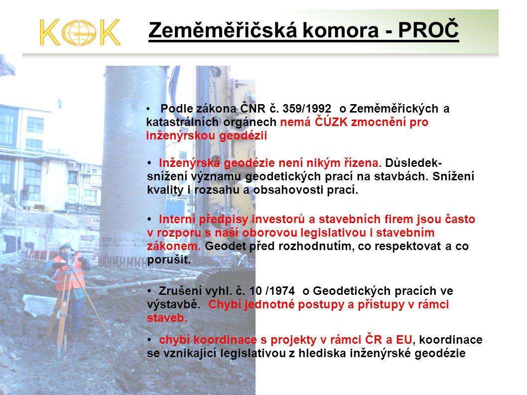Zeměměřičská komora - PROČ Podle zákona ČNR č. 359/1992 o Zeměměřických a katastrálních orgánech nemá ČÚZK zmocnění pro inženýrskou geodézii Inženýrsk