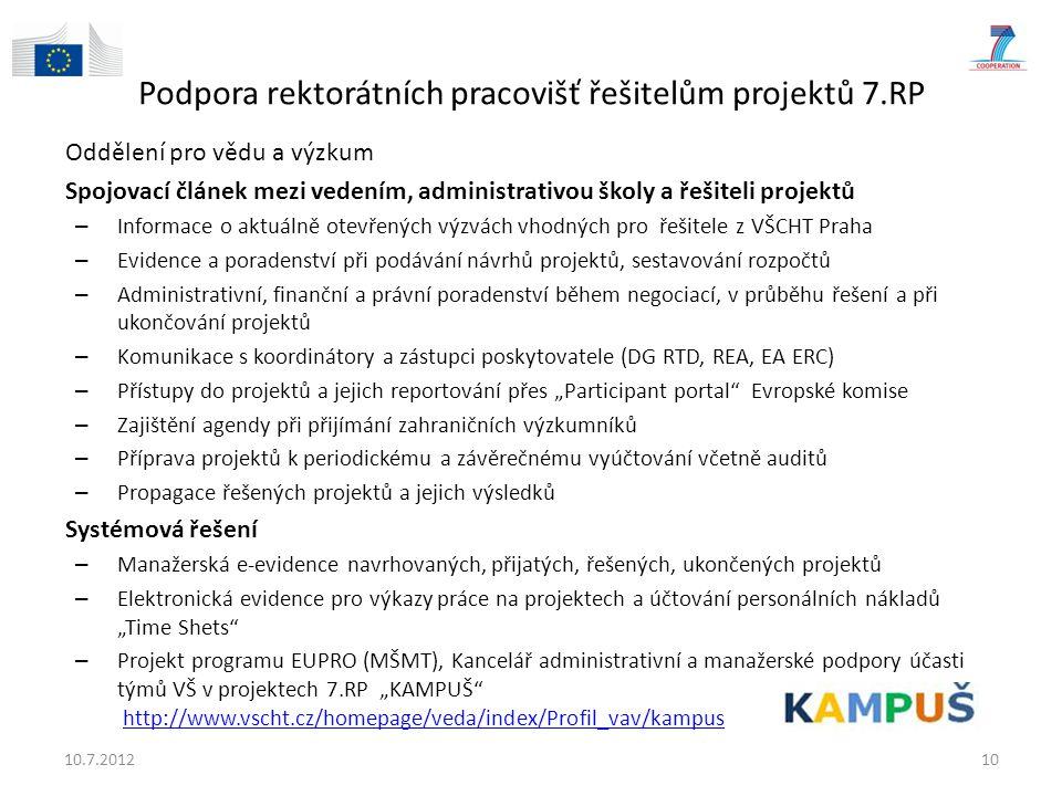"""Podpora rektorátních pracovišť řešitelům projektů 7.RP Oddělení pro vědu a výzkum Spojovací článek mezi vedením, administrativou školy a řešiteli projektů – Informace o aktuálně otevřených výzvách vhodných pro řešitele z VŠCHT Praha – Evidence a poradenství při podávání návrhů projektů, sestavování rozpočtů – Administrativní, finanční a právní poradenství během negociací, v průběhu řešení a při ukončování projektů – Komunikace s koordinátory a zástupci poskytovatele (DG RTD, REA, EA ERC) – Přístupy do projektů a jejich reportování přes """"Participant portal Evropské komise – Zajištění agendy při přijímání zahraničních výzkumníků – Příprava projektů k periodickému a závěrečnému vyúčtování včetně auditů – Propagace řešených projektů a jejich výsledků Systémová řešení – Manažerská e-evidence navrhovaných, přijatých, řešených, ukončených projektů – Elektronická evidence pro výkazy práce na projektech a účtování personálních nákladů """"Time Shets – Projekt programu EUPRO (MŠMT), Kancelář administrativní a manažerské podpory účasti týmů VŠ v projektech 7.RP """"KAMPUŠ http://www.vscht.cz/homepage/veda/index/Profil_vav/kampushttp://www.vscht.cz/homepage/veda/index/Profil_vav/kampus Kancelář pro administrativní a manažerskou podporu účasti vědeckých týmů VVŠ v 7.RP."""