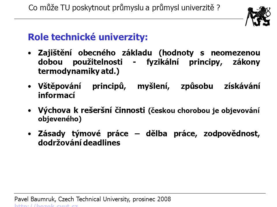 Co může TU poskytnout průmyslu a průmysl univerzitě ? Pavel Baumruk, Czech Technical University, prosinec 2008 http://bozek.cvut.cz http://bozek.cvut.