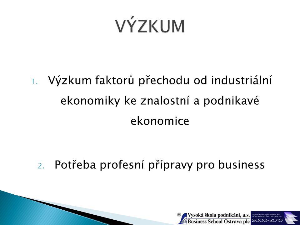 1. Výzkum faktorů přechodu od industriální ekonomiky ke znalostní a podnikavé ekonomice 2.