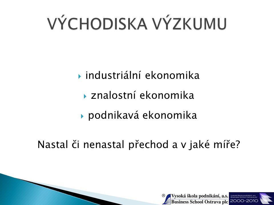  industriální ekonomika  znalostní ekonomika  podnikavá ekonomika Nastal či nenastal přechod a v jaké míře