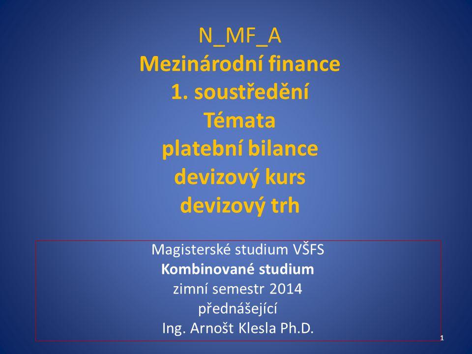 N_MF_A Mezinárodní finance 1. soustředění Témata platební bilance devizový kurs devizový trh Magisterské studium VŠFS Kombinované studium zimní semest