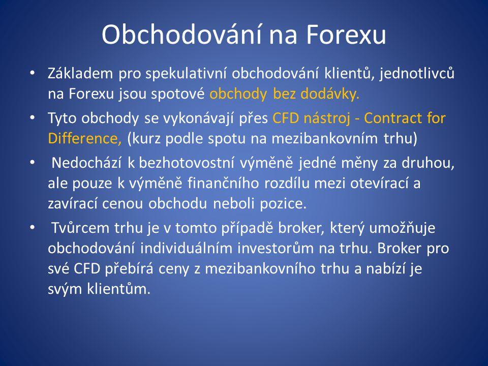 Obchodování na Forexu Základem pro spekulativní obchodování klientů, jednotlivců na Forexu jsou spotové obchody bez dodávky. Tyto obchody se vykonávaj