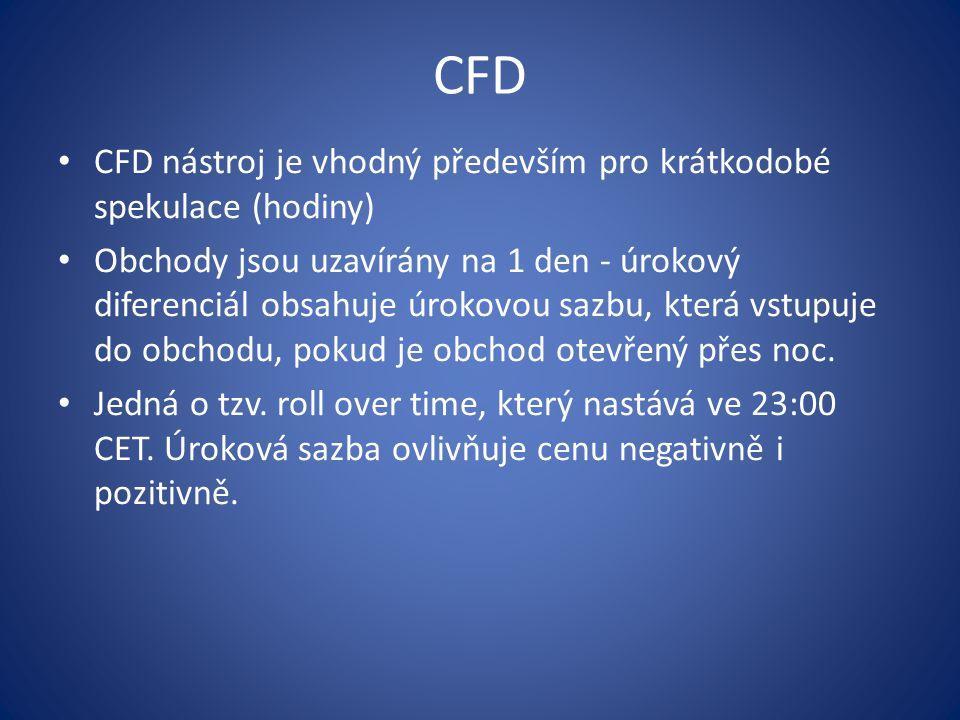 CFD CFD nástroj je vhodný především pro krátkodobé spekulace (hodiny) Obchody jsou uzavírány na 1 den - úrokový diferenciál obsahuje úrokovou sazbu, k