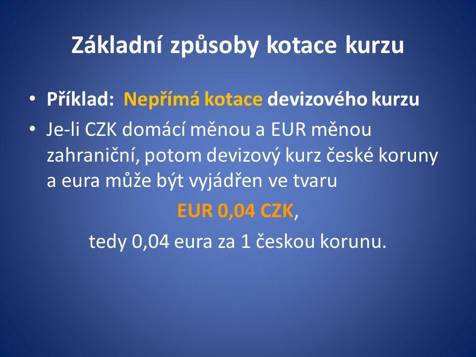 Základní způsoby kotace kurzu Příklad: Nepřímá kotace devizového kurzu Je-li CZK domácí měnou a EUR měnou zahraniční, potom devizový kurz české koruny