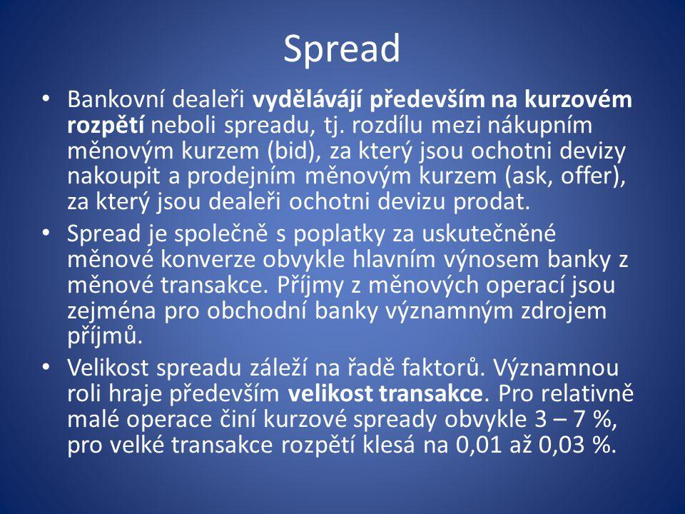 Spread Bankovní dealeři vydělávájí především na kurzovém rozpětí neboli spreadu, tj. rozdílu mezi nákupním měnovým kurzem (bid), za který jsou ochotni