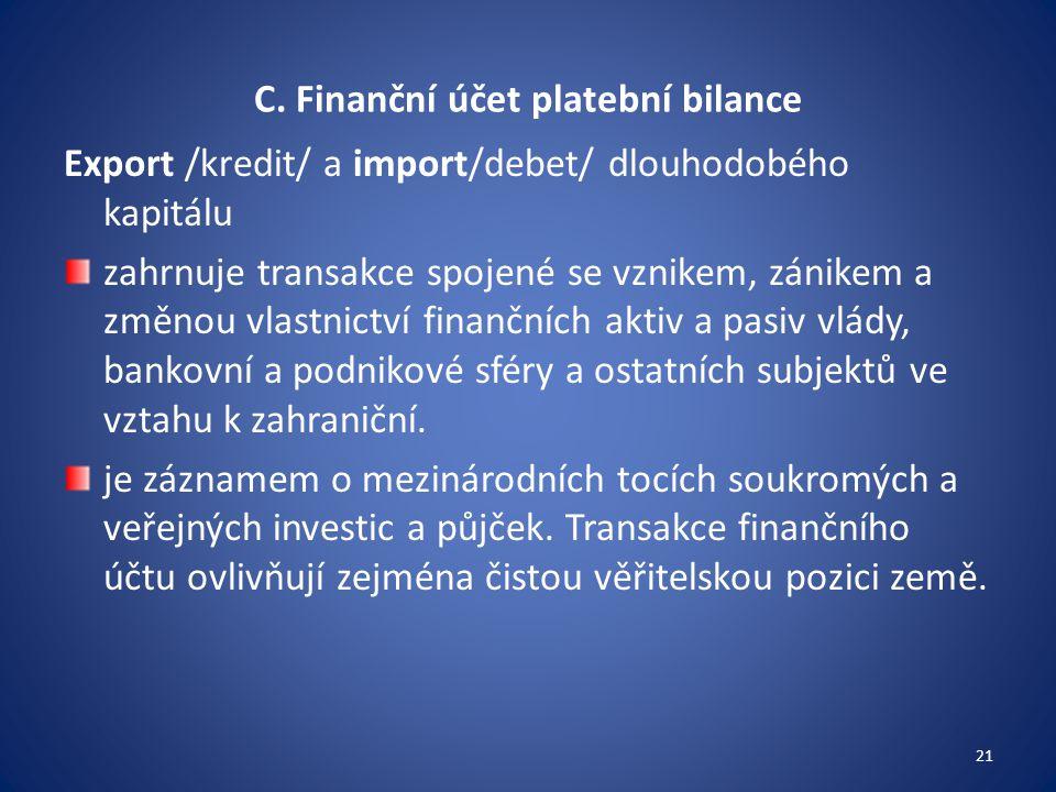 C. Finanční účet platební bilance Export /kredit/ a import/debet/ dlouhodobého kapitálu zahrnuje transakce spojené se vznikem, zánikem a změnou vlastn