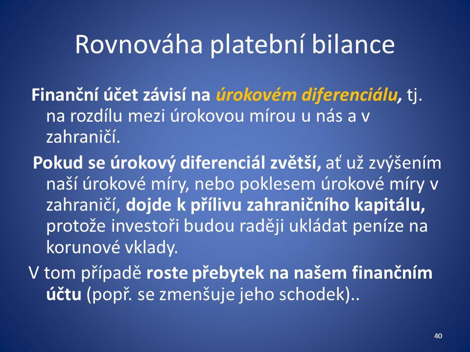 Rovnováha platební bilance Finanční účet závisí na úrokovém diferenciálu, tj. na rozdílu mezi úrokovou mírou u nás a v zahraničí. Pokud se úrokový dif