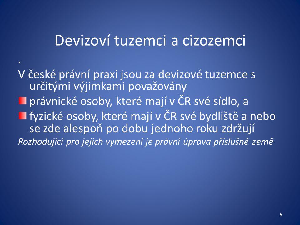 Devizoví tuzemci a cizozemci. V české právní praxi jsou za devizové tuzemce s určitými výjimkami považovány právnické osoby, které mají v ČR své sídlo