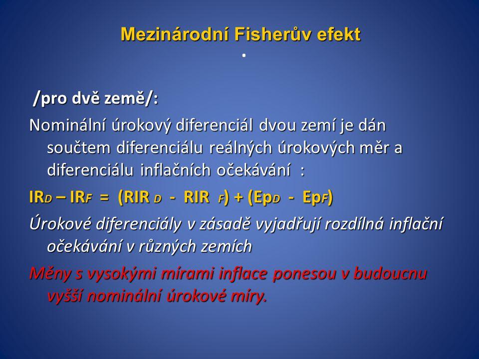 . /pro dvě země/: /pro dvě země/: Nominální úrokový diferenciál dvou zemí je dán součtem diferenciálu reálných úrokových měr a diferenciálu inflačních