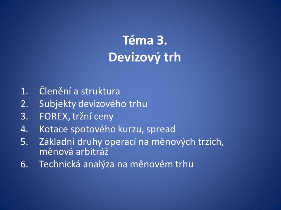 Téma 3. Devizový trh 1.Členění a struktura 2.Subjekty devizového trhu 3.FOREX, tržní ceny 4.Kotace spotového kurzu, spread 5.Základní druhy operací na