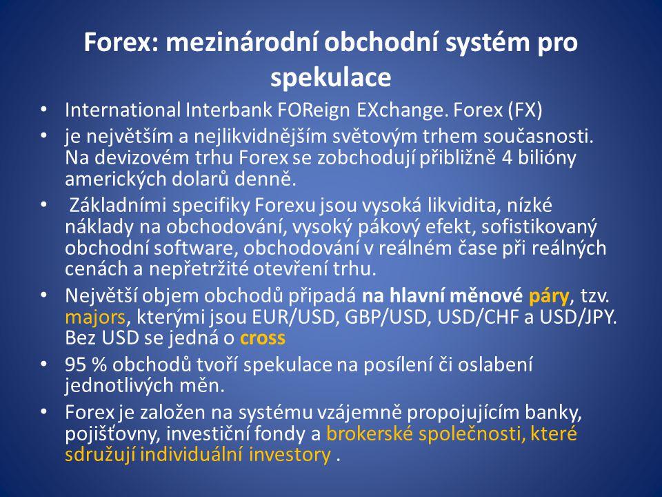 Forex: mezinárodní obchodní systém pro spekulace International Interbank FOReign EXchange. Forex (FX) je největším a nejlikvidnějším světovým trhem so