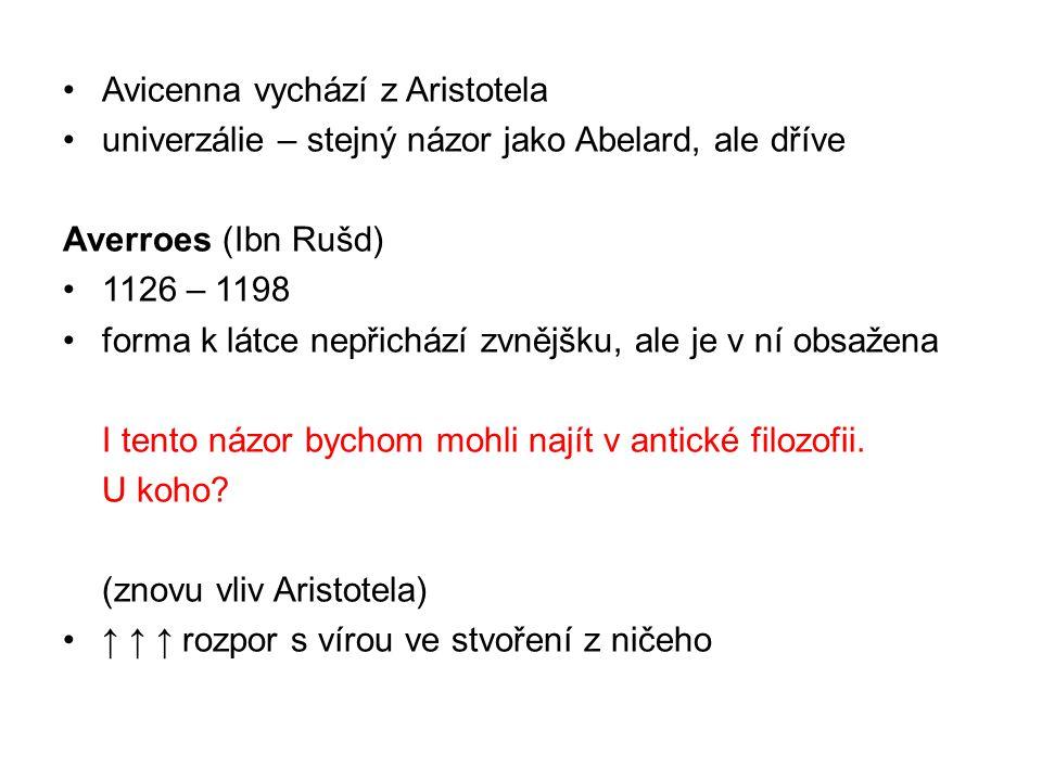 Avicenna vychází z Aristotela univerzálie – stejný názor jako Abelard, ale dříve Averroes (Ibn Rušd) 1126 – 1198 forma k látce nepřichází zvnějšku, ale je v ní obsažena I tento názor bychom mohli najít v antické filozofii.