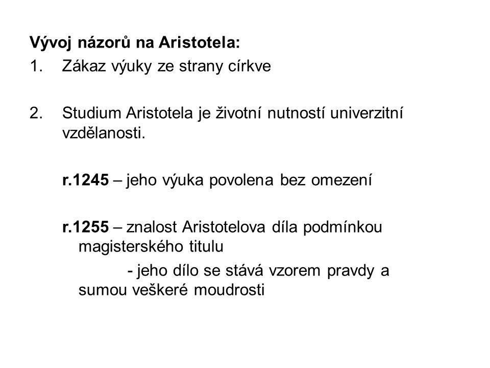 Vývoj názorů na Aristotela: 1.Zákaz výuky ze strany církve 2.Studium Aristotela je životní nutností univerzitní vzdělanosti.