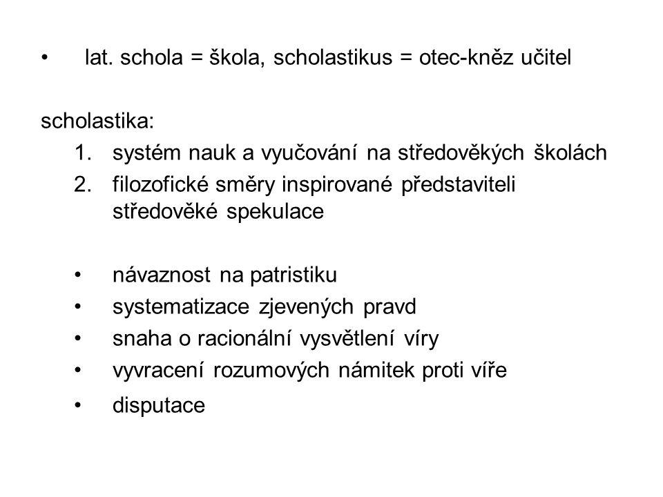 lat. schola = škola, scholastikus = otec-kněz učitel scholastika: 1.systém nauk a vyučování na středověkých školách 2.filozofické směry inspirované př