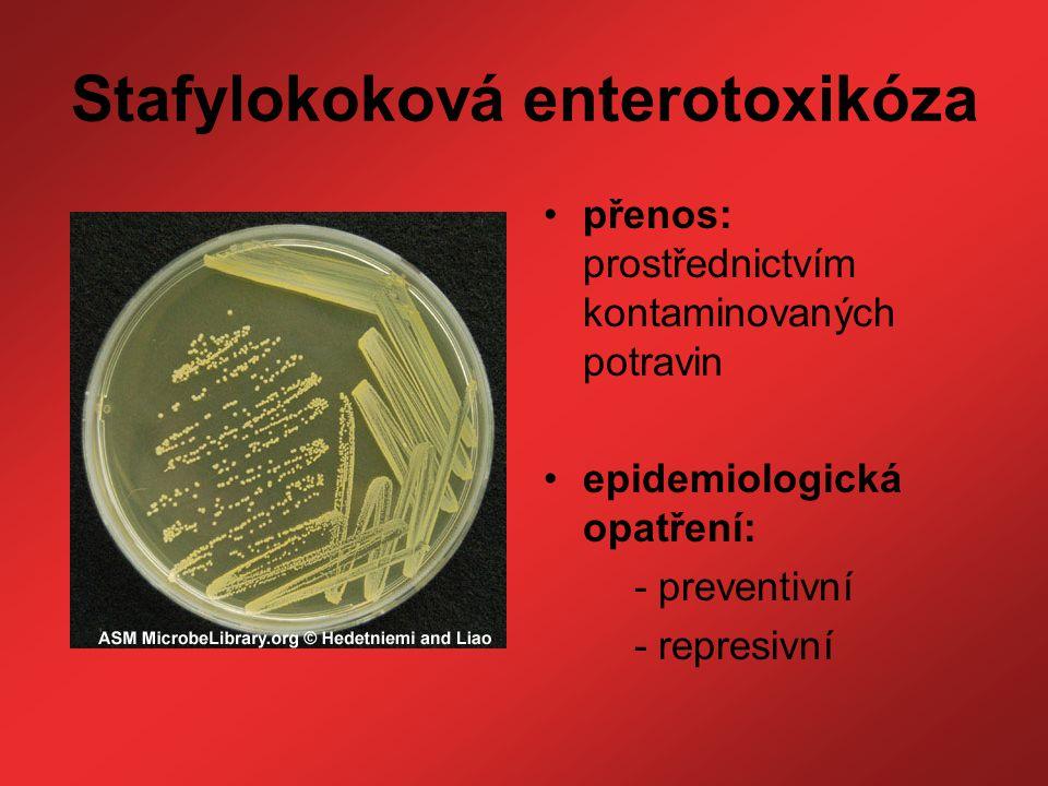 Stafylokoková enterotoxikóza přenos: prostřednictvím kontaminovaných potravin epidemiologická opatření: - preventivní - represivní