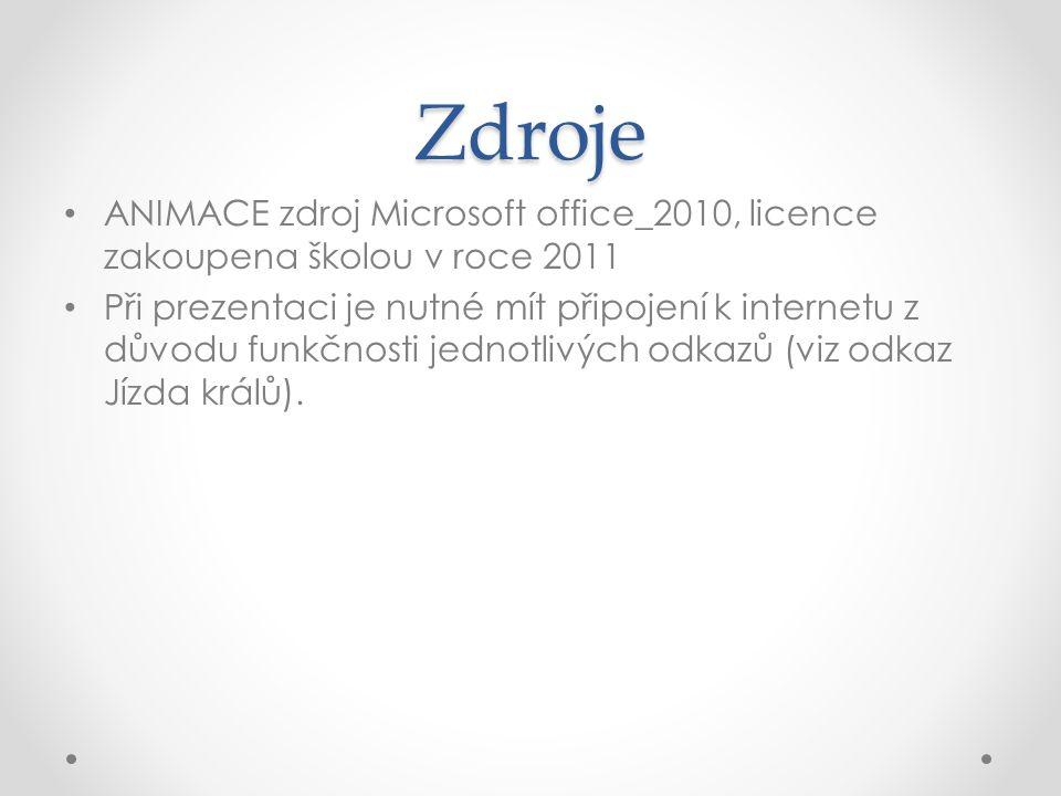 Zdroje ANIMACE zdroj Microsoft office_2010, licence zakoupena školou v roce 2011 Při prezentaci je nutné mít připojení k internetu z důvodu funkčnosti