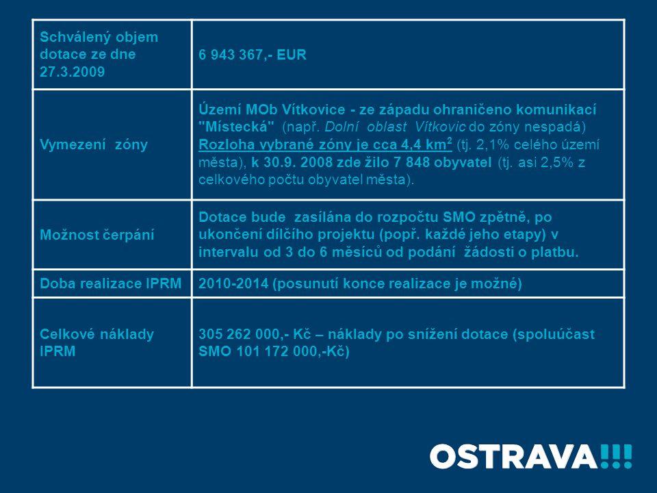 Schválený objem dotace ze dne 27.3.2009 6 943 367,- EUR Vymezení zóny Území MOb Vítkovice - ze západu ohraničeno komunikací