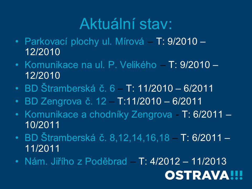 Aktuální stav: Parkovací plochy ul. Mírová – T: 9/2010 – 12/2010 Komunikace na ul. P. Velikého – T: 9/2010 – 12/2010 BD Štramberská č. 6 – T: 11/2010
