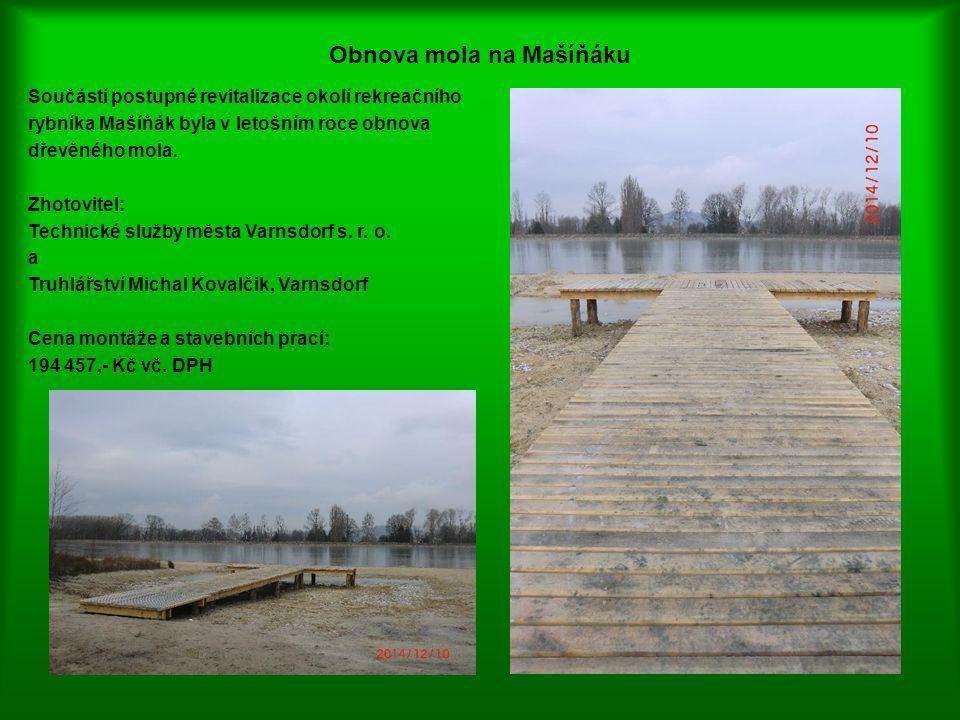 Obnova mola na Mašíňáku Součástí postupné revitalizace okolí rekreačního rybníka Mašíňák byla v letošním roce obnova dřevěného mola. Zhotovitel: Techn