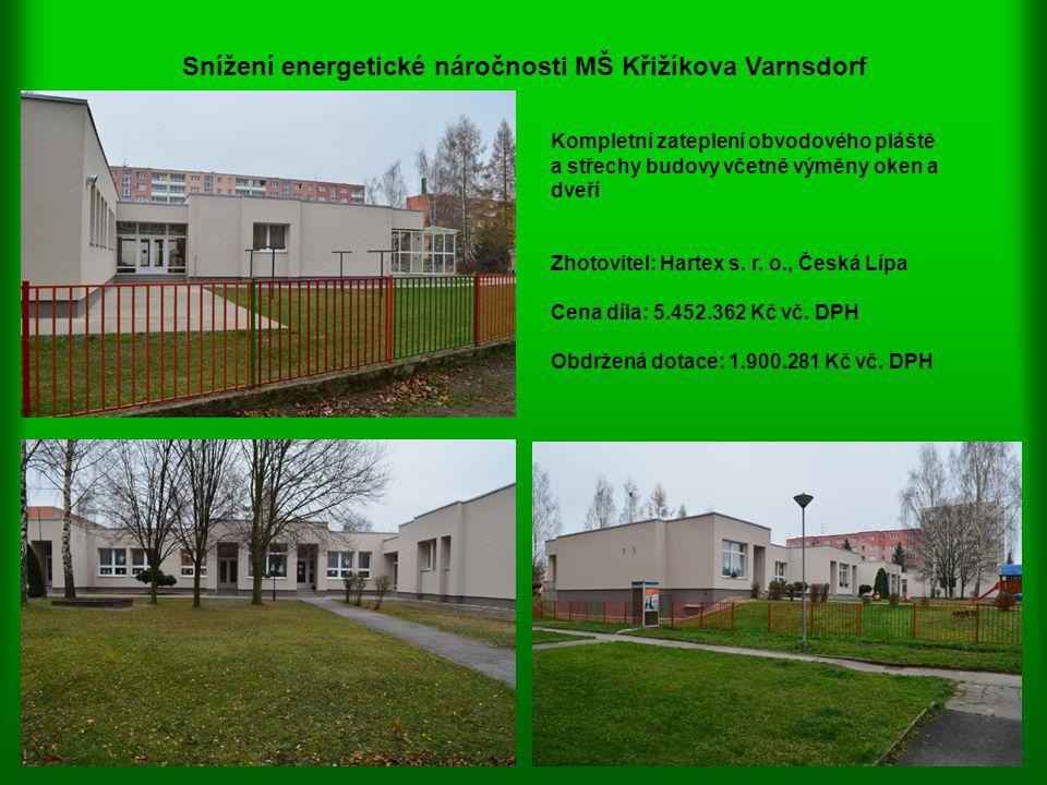 Snížení energetické náročnosti MŠ Křižíkova Varnsdorf Kompletní zateplení obvodového pláště a střechy budovy včetně výměny oken a dveří Zhotovitel: Ha