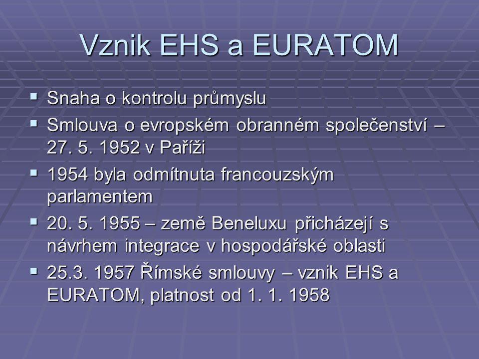 Vznik EHS a EURATOM  Snaha o kontrolu průmyslu  Smlouva o evropském obranném společenství – 27.