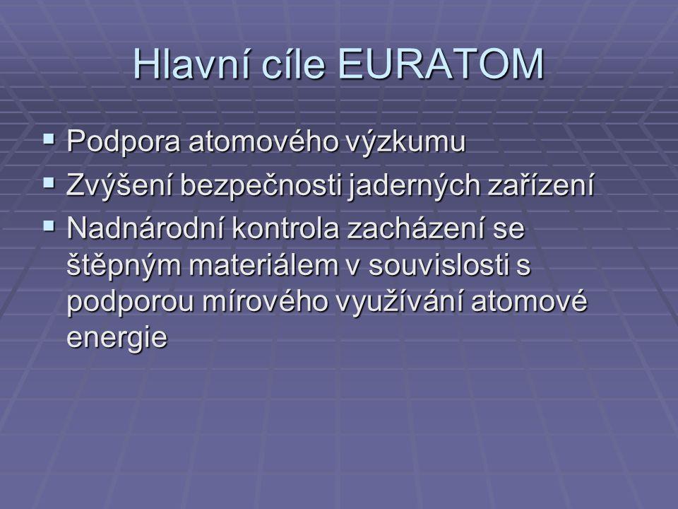 Hlavní cíle EURATOM  Podpora atomového výzkumu  Zvýšení bezpečnosti jaderných zařízení  Nadnárodní kontrola zacházení se štěpným materiálem v souvislosti s podporou mírového využívání atomové energie