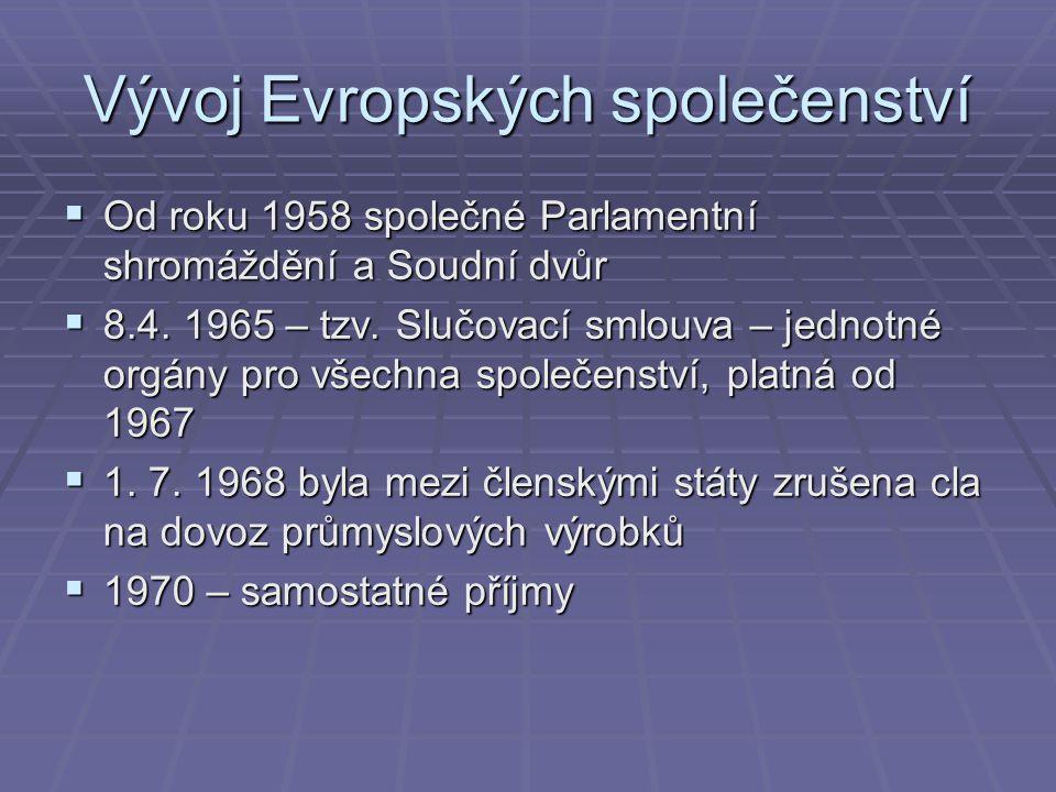 Vývoj Evropských společenství  Od roku 1958 společné Parlamentní shromáždění a Soudní dvůr  8.4.