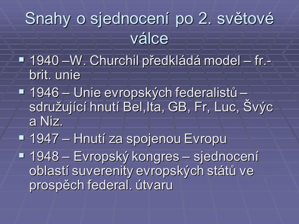 Snahy o sjednocení po 2. světové válce  1940 –W.