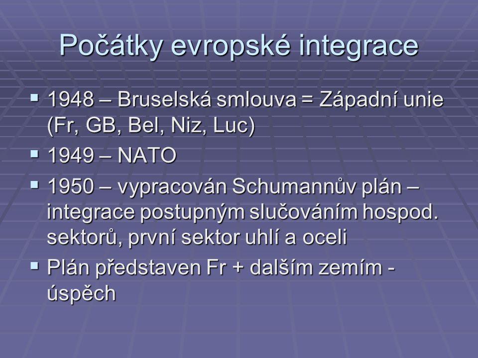 Počátky evropské integrace  1948 – Bruselská smlouva = Západní unie (Fr, GB, Bel, Niz, Luc)  1949 – NATO  1950 – vypracován Schumannův plán – integrace postupným slučováním hospod.