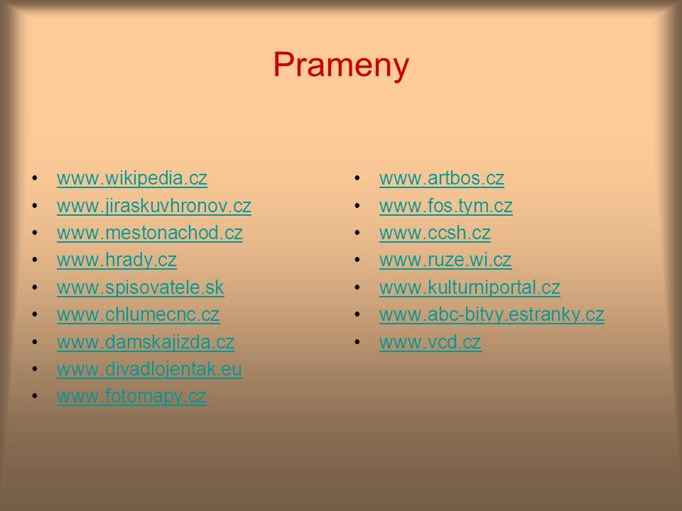 Prameny www.wikipedia.cz www.jiraskuvhronov.cz www.mestonachod.cz www.hrady.cz www.spisovatele.sk www.chlumecnc.cz www.damskajizda.cz www.divadlojenta