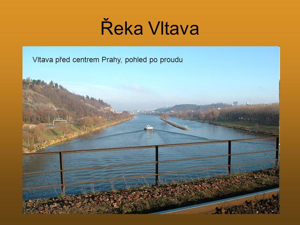 Řeka Vltava Vltava před centrem Prahy, pohled po proudu