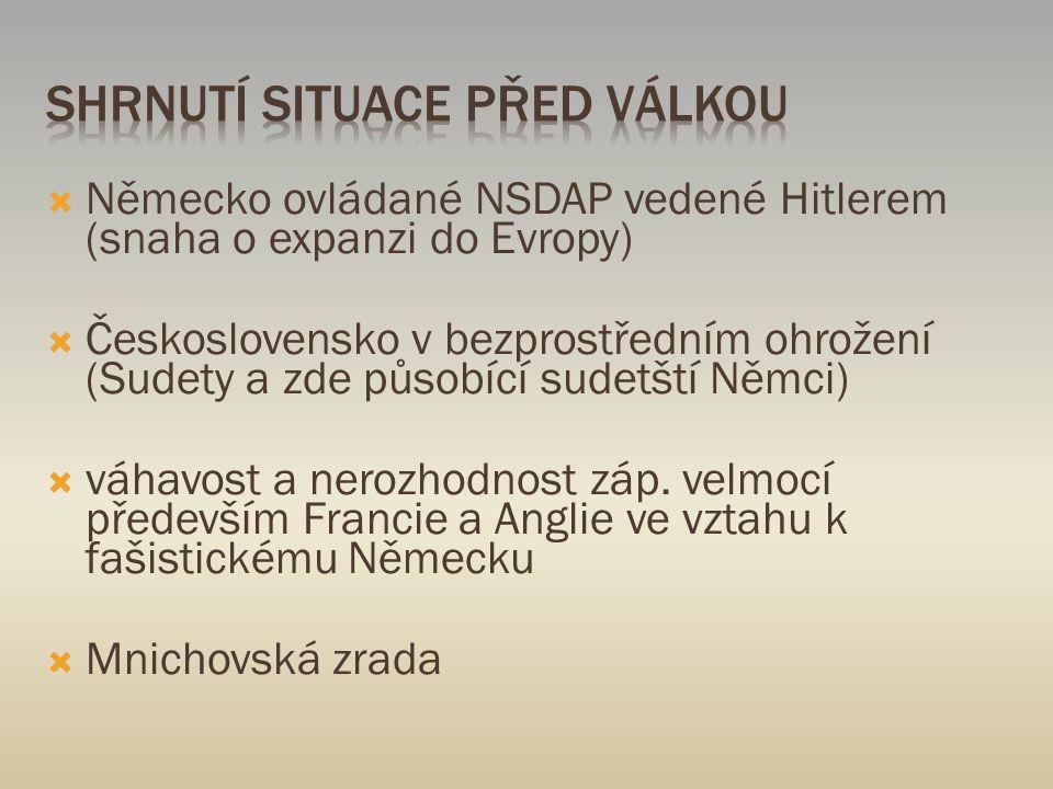  Německo ovládané NSDAP vedené Hitlerem (snaha o expanzi do Evropy)  Československo v bezprostředním ohrožení (Sudety a zde působící sudetští Němci)