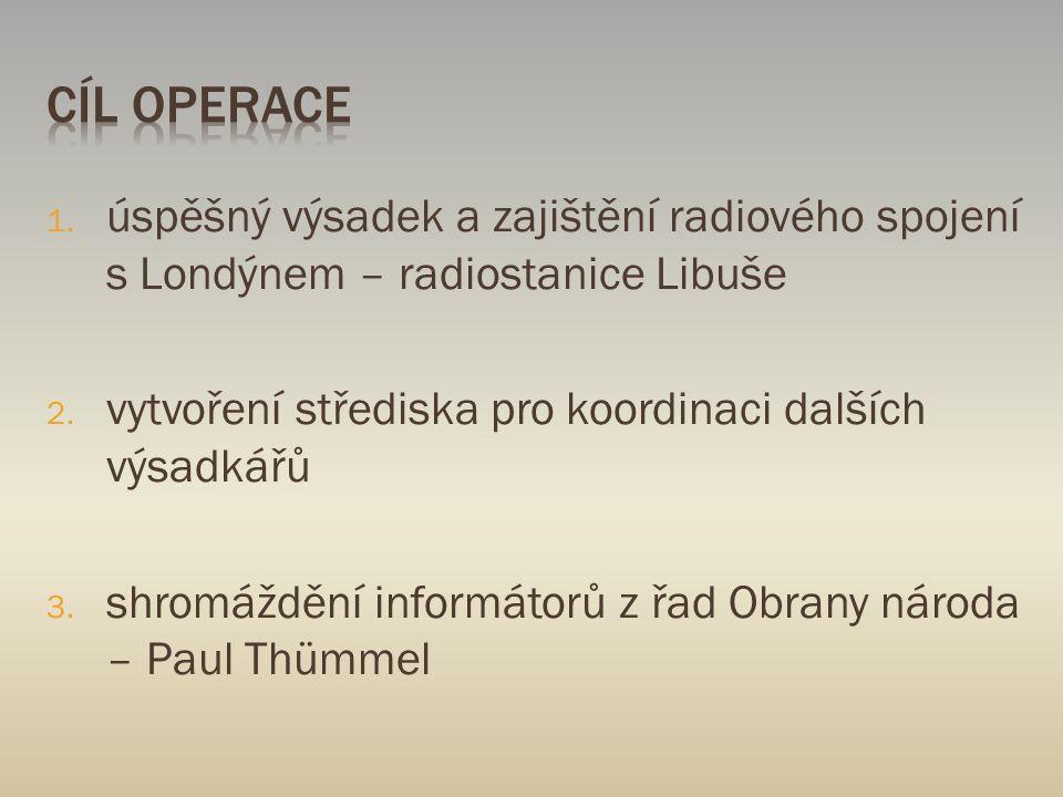 1. úspěšný výsadek a zajištění radiového spojení s Londýnem – radiostanice Libuše 2. vytvoření střediska pro koordinaci dalších výsadkářů 3. shromáždě