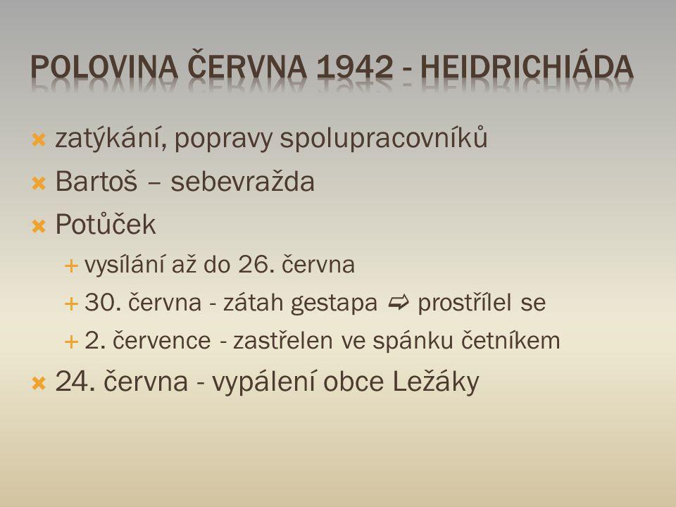  zatýkání, popravy spolupracovníků  Bartoš – sebevražda  Potůček  vysílání až do 26.