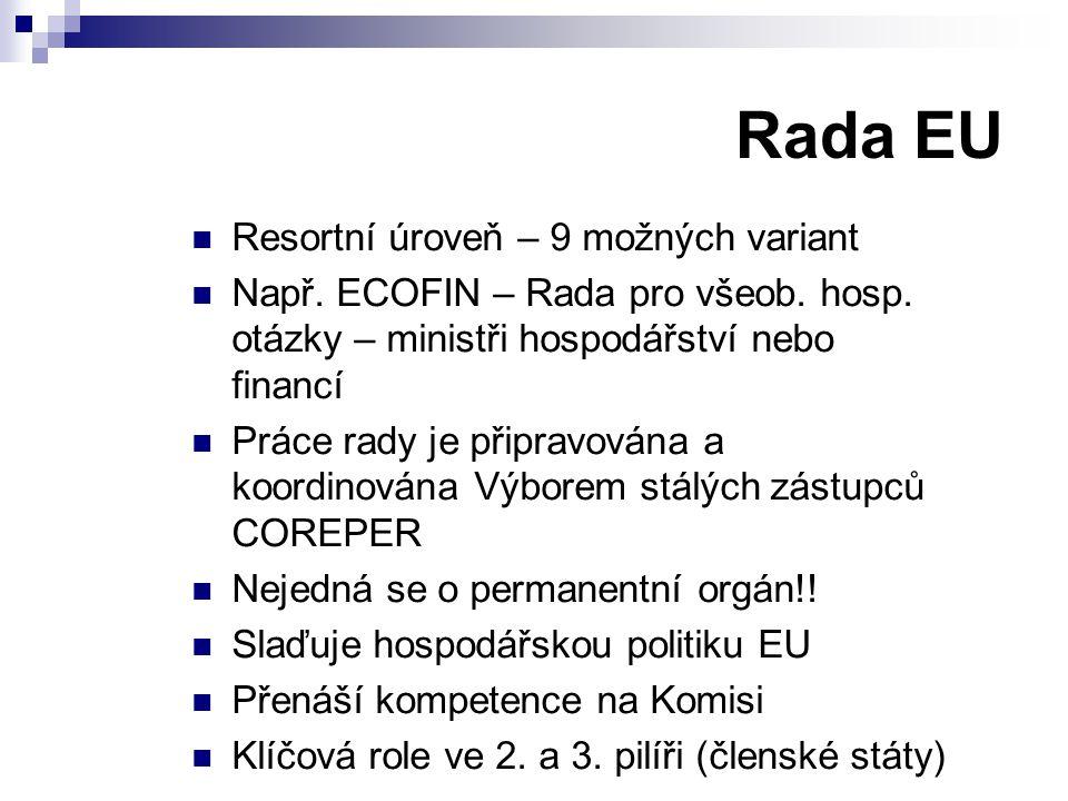 Rada EU Resortní úroveň – 9 možných variant Např. ECOFIN – Rada pro všeob.