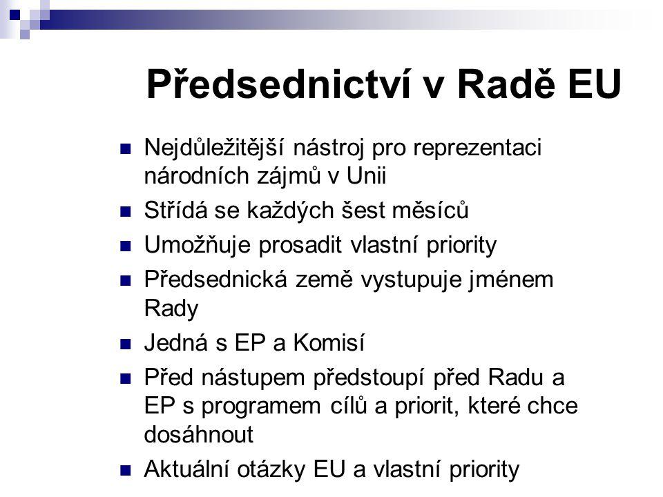 Předsednictví v Radě EU Nejdůležitější nástroj pro reprezentaci národních zájmů v Unii Střídá se každých šest měsíců Umožňuje prosadit vlastní priority Předsednická země vystupuje jménem Rady Jedná s EP a Komisí Před nástupem předstoupí před Radu a EP s programem cílů a priorit, které chce dosáhnout Aktuální otázky EU a vlastní priority