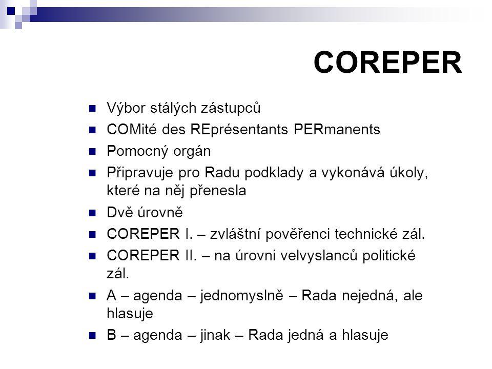 COREPER Výbor stálých zástupců COMité des REprésentants PERmanents Pomocný orgán Připravuje pro Radu podklady a vykonává úkoly, které na něj přenesla Dvě úrovně COREPER I.