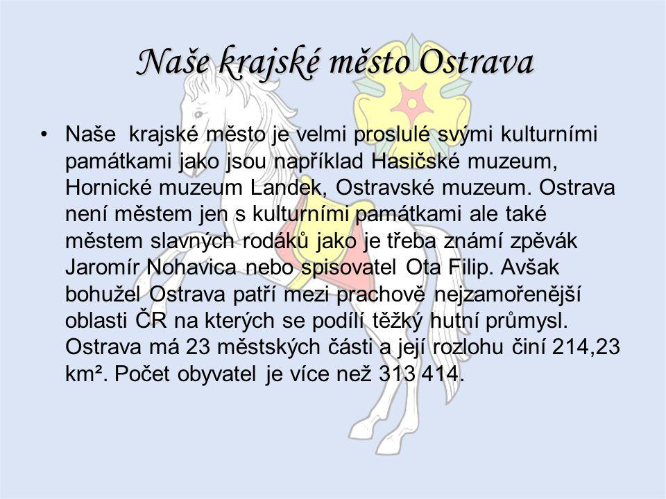Naše krajské město Ostrava Naše krajské město je velmi proslulé svými kulturními památkami jako jsou například Hasičské muzeum, Hornické muzeum Landek