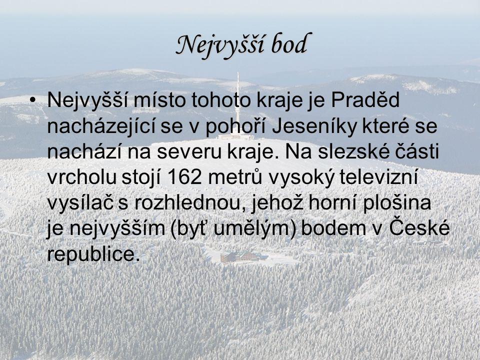 Nejvyšší bod Nejvyšší místo tohoto kraje je Praděd nacházející se v pohoří Jeseníky které se nachází na severu kraje. Na slezské části vrcholu stojí 1