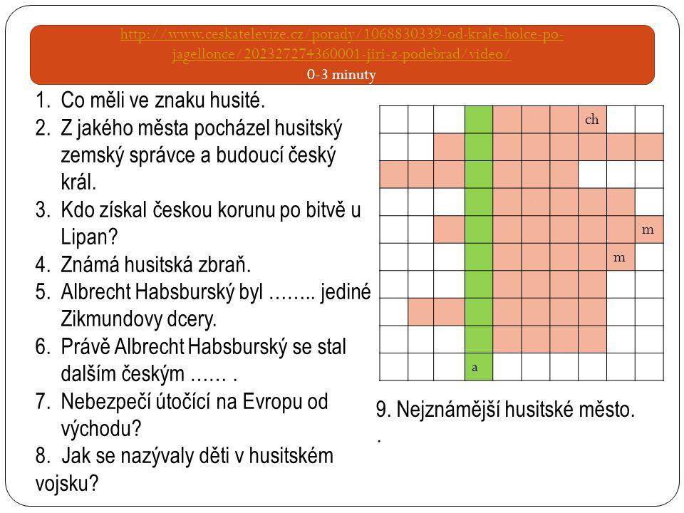http://www.ceskatelevize.cz/porady/1068830339-od-krale-holce-po- jagellonce/202327274360001-jiri-z-podebrad/video/ 0-3 minuty kalich Pod ě brad Zikmun