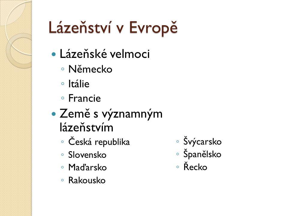 Lázeňství v Evropě Lázeňské velmoci ◦ Německo ◦ Itálie ◦ Francie Země s významným lázeňstvím ◦ Česká republika ◦ Slovensko ◦ Maďarsko ◦ Rakousko ◦ Švý
